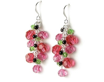 Summer Outdoor 4th of July Silver Watermelon Earrings Swarovski Crystal Czech Glass Pink Green Black Seed Bead Mini Party Fruit Jewelry Gift