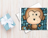 Teal Monkey Birthday Card - Brown Monkey on Green Background - Baby Shower Card, Celebration/Holiday Card - by Artist Kathy Lycka