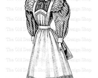 Victorian Lady Maid Woman No. 2 Digital Graphic Clip Art Printable Transfer Image jpg png