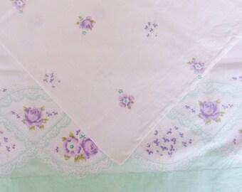Pair of Feed Sack Pillowcases, Green with Purple Roses Grain Sack Pillowcases, Handmade Standard Size Pillowcases