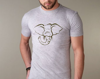 ELEPHANT T shirt, Elephant Tee Shirt, Men's Graphic Tee, Bamboo Clothing, Organic Cotton Tshirt for Men