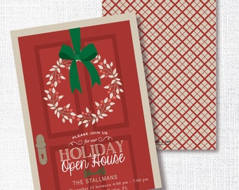 Holiday Open House Party Invitation, Printable,  Christmas Party Invite, House Warming, Realtor, Wreath