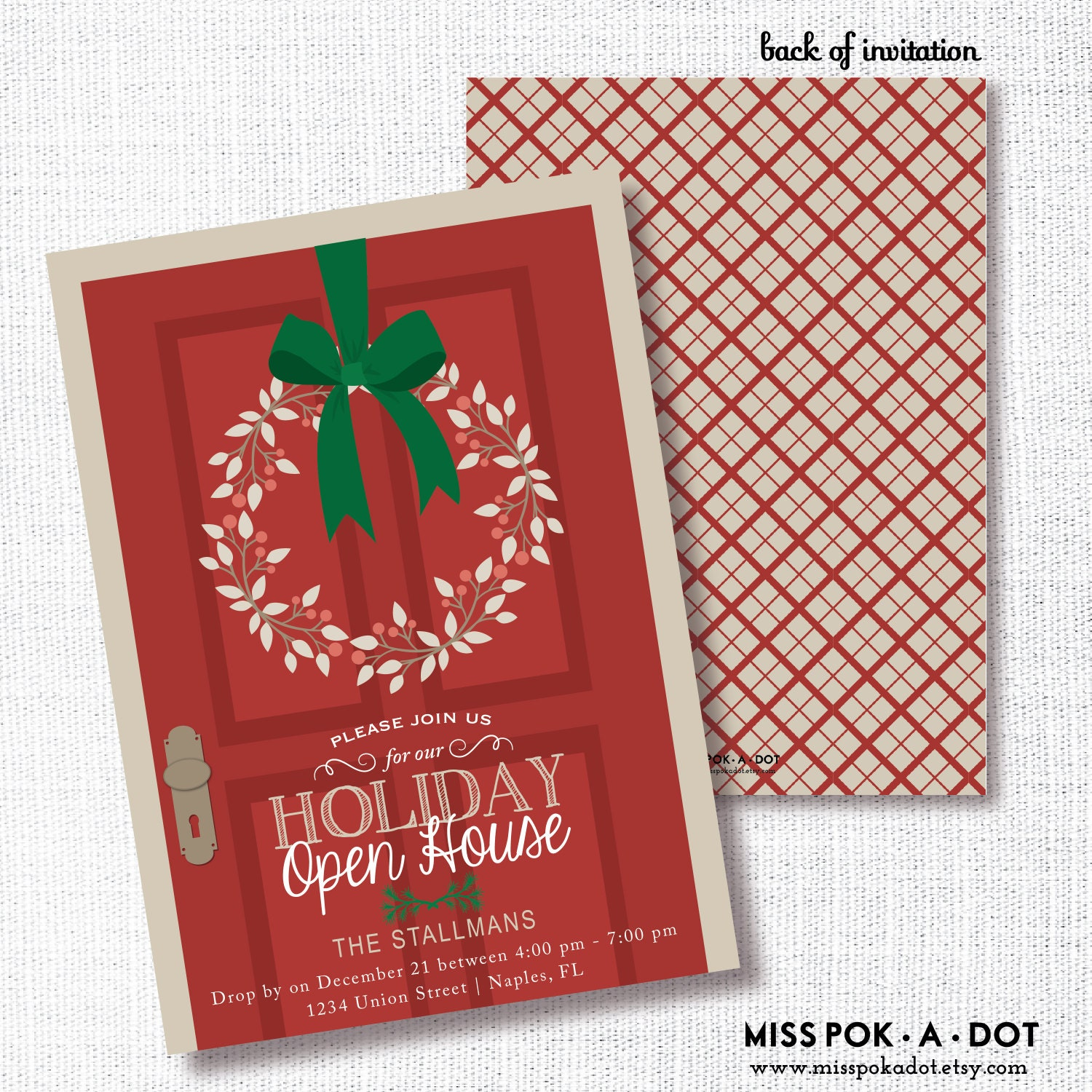 holiday open house party invitation printable christmas