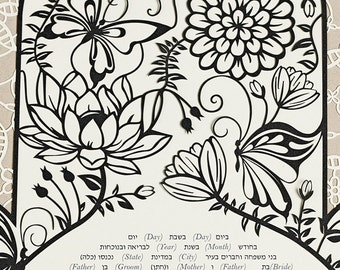 NEW! Papercut Ketubah - Hamsa - Jewish Wedding - Eco-friendly