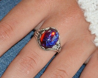 Dragons Breath Ring, Fire Opal Ring, Mexican Opal Ring, Red Fire Opal Ring, Dragons Breath Opal, Opal promise ring