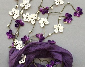 Silk Wrap Scarf, Beaded Necklace, Boho Pansy Necklace, Crochet Wrap Scarf, Oya Skinny Scarf, Beaded Foulard, Violet Scarf, Crochet Jewelry