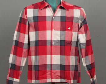 Mens 1950s Shirt -- Deadstock Buffalo Check Lightweight Long Sleeve Loop Collar by Eagle Bros. Hi-Craft -- NOS NWT Size XS/S