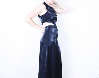 Black Cut-out Dress . Maxi Dress witch dress gothic dress black dress chinese dress high neck dress 90s grunge dress New Years Dress
