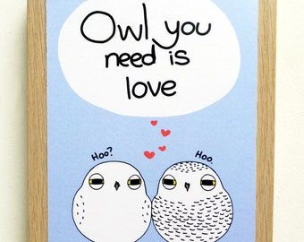 Snowy Owl You Need Is Love Postcard Valentines Card Valentine Card