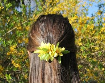 Flower Barrette/Hair Clip in Yellow Forsythia