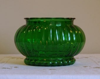 Green Glass Planter, Ribbed Oval Bowl, ALR Glass Company, Footed Bead Glass Container, Melon Shaped Centerpiece, Retro Storage / Decor