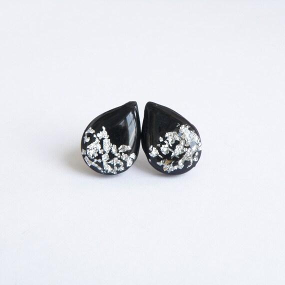 black silver earrings teardrop studs polymer clay by