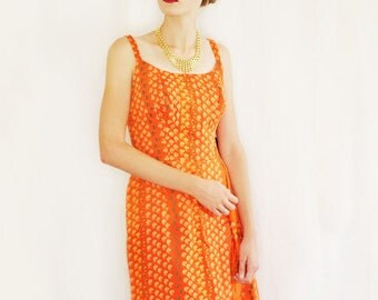 60s Cotton Sundress. Mad Men Pencil Wiggle Dress. Orange Pink Novelty Fish Print Fabric Olongapo Philippines. Tropical Wedding Guest Dress M