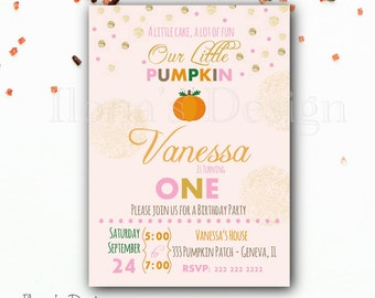 Pumpkin First Birthday Invitation - Pumpkin Invitation - Fall Birthday Invitation - Printable Invitation
