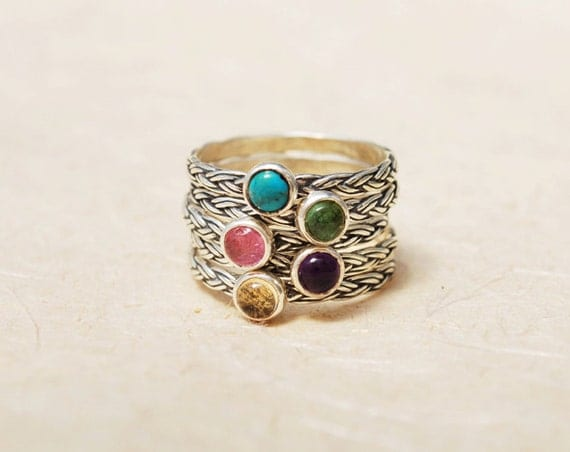 personalized family ring stackable birthstone rings