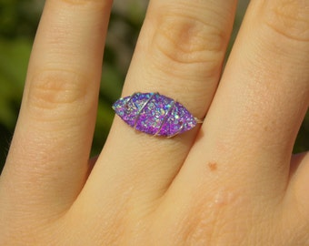 Wire Wrapped Purple Faux Druzy Ring (with Silver/Gold Plated Wire)