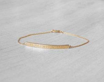 20% OFF Dainty Coordinates Bracelets - Custom Coordinates Bracelets - Personalized Latitude Longitude in Silver, Gold, Rose Gold - LA05