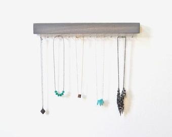 Wall Jewelry Organizer - Jewelry Organizer - Necklace Holder - Grey - Wood Necklace Hanger - Necklace Storage - Gray Decor - Modern
