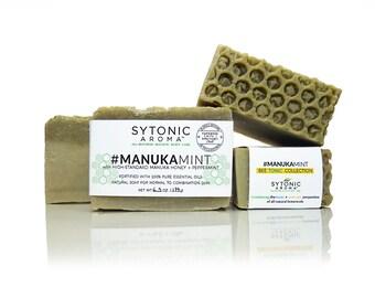 MANUKA MINT SOAP - Manuka Honey + Peppermint + Chlorella Algae (6.2 to 6.8 oz), All Natural, Handmade, Cold Process Soap