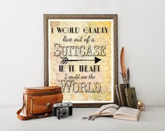 Vintage Travel Poster, Travel Printable, Travel Poster, Vintage Map, Travel Quote, Travel Decor, Vintage World Map, Downloadable 0040