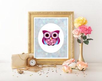 Owl Decor Owl Printable, Owl Decor Digital Download Owl Download Owl Decor Printable,Nursery Owl,Owl Decor,Nursery Decor, Pink Owl,Owl 0210