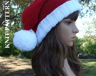 PATTERN #97: Double Pom-Pom Santa Slouchy, Knit Santa Hat Pattern with 2 Pom-poms, fold up brim, Size Teen/Adult - PDF Digital File/Pattern