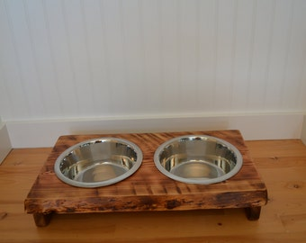 "Dog bowl stand ""Medium""  wood dog dish stand crafted from live edge fir or cedar, pet food station,  rustic wood look for your dog or cat"