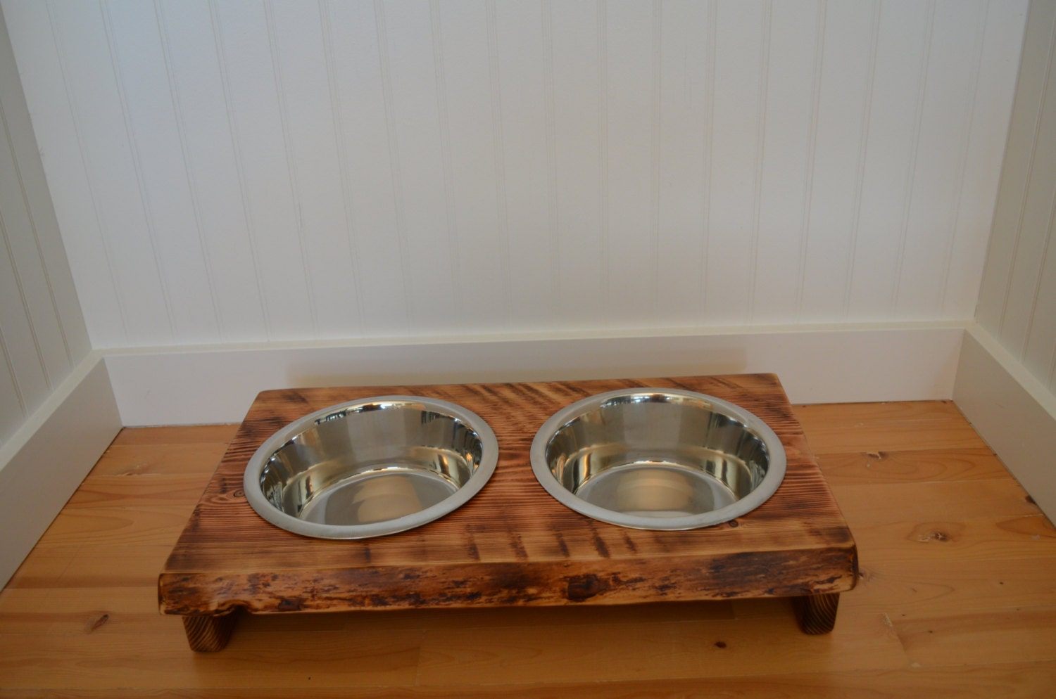 Dog Bowl Stand Medium Wood Dog Dish Stand Crafted From Live Edge Fir Or  Cedar, Pet Food Station, Rustic Wood Look For Your Dog Or Cat