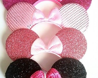 Minnie Mouse Ears, Minnie Mouse, Minnie halloween ears, black minnie mouse ear, pink Minnie ears, hot pink minnie ears, my first Disneyland