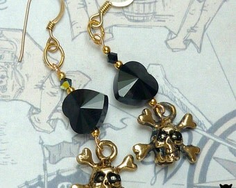 Skull and Crossbones Earrings, Black Heart Earrings, Gold Pirate Skull and Crossbones Charm Earrings, Halloween Earrings