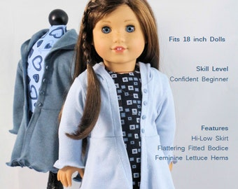 18 inch Doll Clothes Pattern, The Hyde Park Hoodie pattern fits dolls such as American Girl®