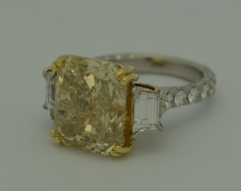 "Breathtaking 12.75cttw ""Canary"" Fancy Yellow Diamond Ring"