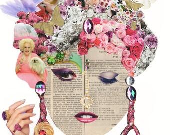 GARDEN PARTY LADY / Collage Print /  Art / Woman /  (sizes a4 - a3)