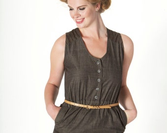 Grey Stripe Jumpsuit - Sleeveless - Organic Cotton - Pockets - Scoop Neck - Tapered - Eco Friendly - Ethical Clothing - Fairtrade Clothing