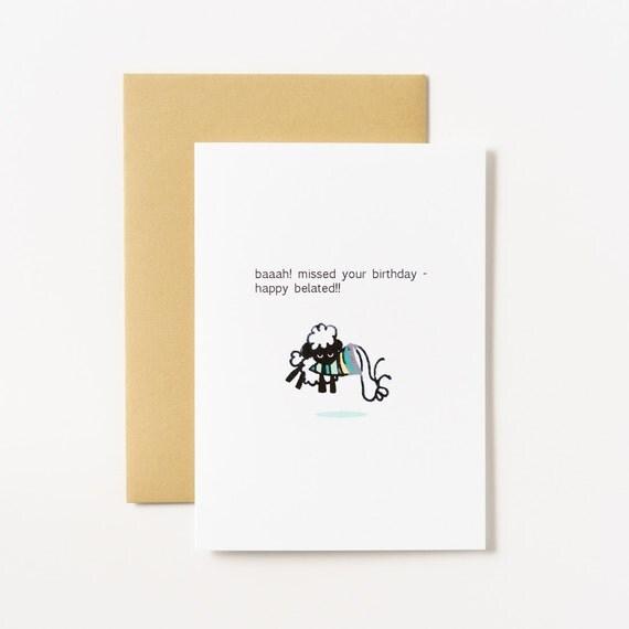 Bah Sheep Belated Birthday Greeting Card
