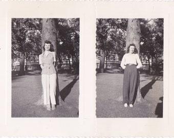 Mile-High Tourists- 1940s Vintage Photographs- SET of 2- Capitol Hill- Denver, Colorado- Found Photos- 40s Snapshot- Paper Ephemera