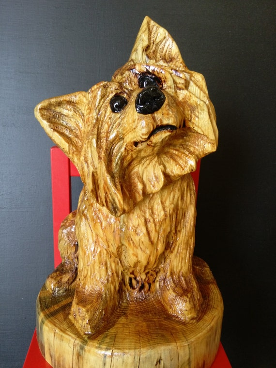 Chainsaw carving yorkie