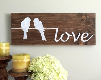 Love Sign (brown) - Wood Wall Decor - Love Decor - Love Birds - Birds on a Wire - Rustic Wall Decor - Farmhouse Decor