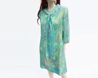 1960s Chiffon Dress, Vintage Mod 60s, Aquamarine 60s Dress, Vintage Psychedelic, 1960s Mod Dress, Seafoam Yellow Dress, Abstract Green, L