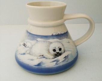 Vintage Otagiri Travel Mug with Baby Seals