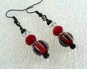 Red & Black Dangle Earrings: Beaded Drop Earrings with Swarovski® Crystal Beads, Women's Earrings, Nickle-Free Earwires, Handmade in the USA
