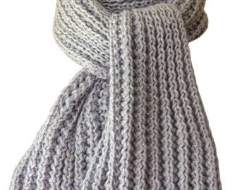Hand Knit Scarf - Silver Grey Kitten Cashmere Silk Wind River Rib