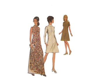 1970s High Neck Dress/Maxi Dress Pattern with Under Bust Seam Detail Size 10 Bust 32.5 Vintage Sewing Pattern Style 2906