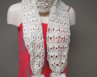 Handmade White Crochet Scarf with Pom Poms - Available in Other Colors - Elegant Warm Soft Scarf