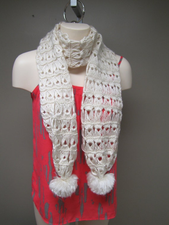 Handmade White Crochet Scarf with Pom Poms Available in