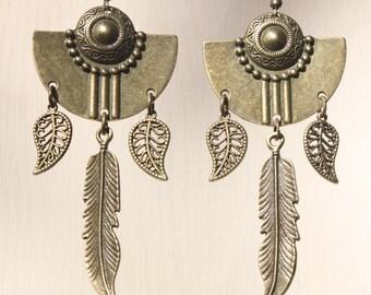 Boho Earrings Bohemian Earrings Dangle Aztec Tribal Ethnic Art Deco Earrings Brass Earrings Huge Long Earrings Geometric Large Earrings Gift