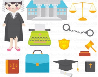 Lawyer vector - Digital Clipart - Instant Download - EPS, PNG files included