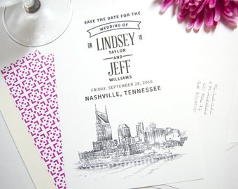 Nashville Water View Skyline Wedding Save the Date Cards, Save the Dates (set of 25 cards)