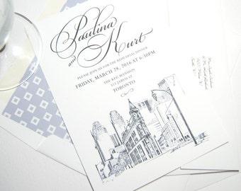 Toronto Flatiron Building Skyline Rehearsal Dinner Invitations (set of 25 cards)