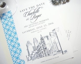 Toronto Flatiron Building Skyline Watercolor Save the Date Cards (set of 25 cards)